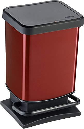 Rotho Paso Mülleimer 20l mit geruchsdichtem Deckel, Kunststoff (PP) BPA-frei, rot metallic, 20l (29,3 x 26,6 x 45,7 cm)