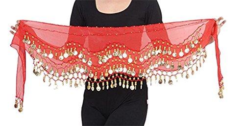Danze del vientre Traje Cinturon de monedas taparrabo para Carnaval Espectáculos de danza en rojo