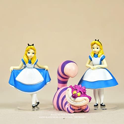 Alice in Wonderland Action Figure Anime Mini Decoration PVC Collection Figurine Toy Model for Children 3 Pcs