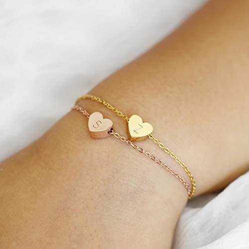 DALIU Pulsera para niña de Las Flores Pulsera para niños Collar Inicial Joyería para niña Regalo Pulsera con dijes Oro Delicado Popular
