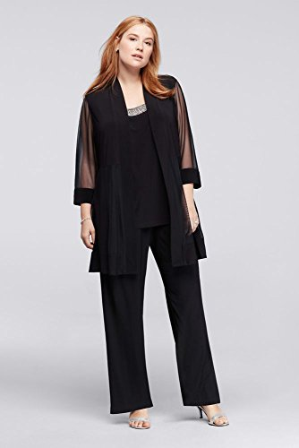 David's Bridal 3-Piece Plus Size Pantsuit with Beaded Neckline Style 8764WP, Black, WP24