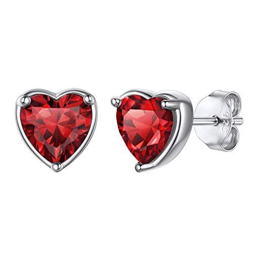 S925 Plata Pendientes de colores con Piedra Natales Enero a Diciembre, forma Corazón/Redonda, Pendientes Pequeños Hipoalergénicos, con caja de regalo