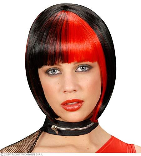 Widmann Zoey - Perruque noire rayée rouge pour accessoires cheveux déguisement