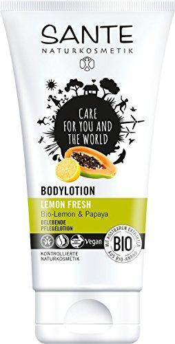 SANTE Naturkosmetik Bodylotion Lemon Fresh, Glattes Hautgefühl, Erfrischt & belebt, Vegan, Bio-Extrakte & Kamelienöl, 2x150ml Doppelpack