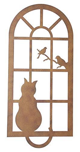 khevga Wandbild Rost-Optik Katze am Fenster mit Vögeln 56 x 26 cm groß