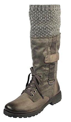 Tamaris Stiefel mit Strickkragen, Leder, warm gefüttert, Grau - anthrazit - Größe: 37 EU