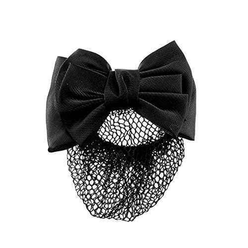 Snood Net Noir Bowknot Détail Français Clip Cheveux Snood Net Bowknot Barrette Barrette Barrette Bun Couverture Femme