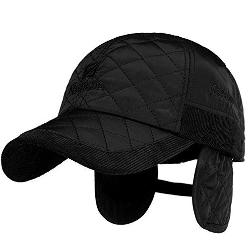 Sporty Baseballcap mit Ohrenklappen Wasserdicht Kappe Cord Golf Cap Mütze Schirmmütze Ohrenschutz Ohrenschützer Basecap Wintercap Wintermütze (schwarz)