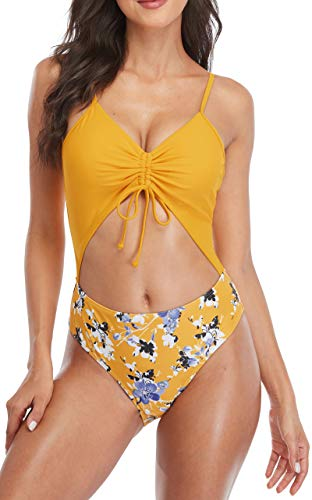 Sociala Cutout One Piece Bathing Suits for Women High Waisted Lace-up Monokini Swimsuits Yellow Large