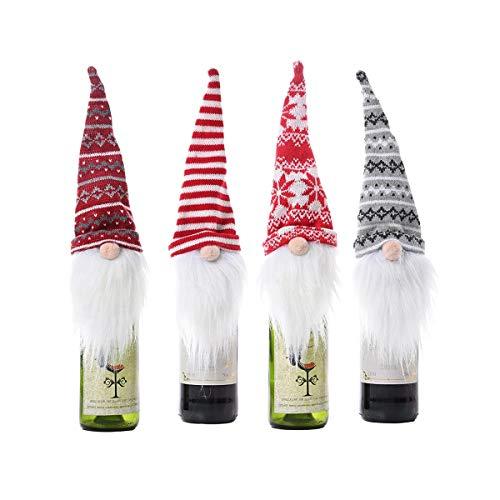 Bolsas para botellas de vino de Navidad, bolsas de vino rojas, accesorios de regalo, set de regalo reutilizables, para Navidad, festivales, fiestas, mesas, decoración de mesa (4 unidades)