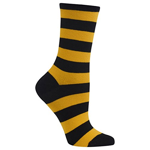 Hot Sox Women's Originals Fashion Crew Socks, College Rugby Stripe (Black/Sport Yellow), Shoe 4-10/Sock Size 9-11