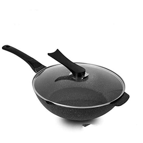 Wok de acero al carbono, Wok - Wok de acero inoxidable, sartén de frito antiadherente con tapa y espátula, compatible con la inducción, resistente a los arañazos, lavavajillas y horno seguro