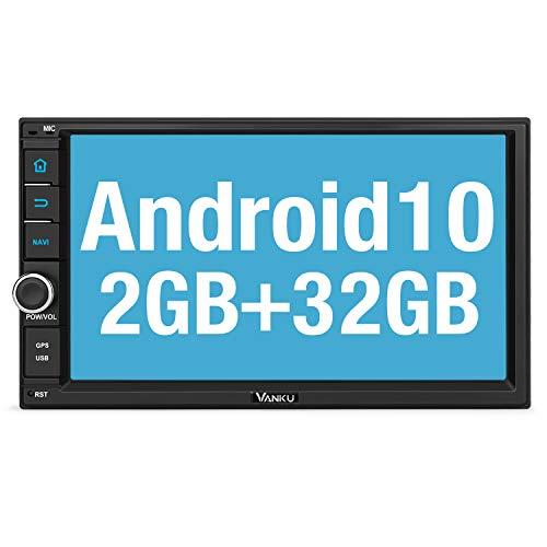 "Vanku Android 10 Radio 2 DIN con GPS Navegación, Autoradio Android de Coche Soporte Bluetooth, Control Volante, WiFi, USB, SD, Mirror-Link, 4G, con 7"" Pantalla táctil"
