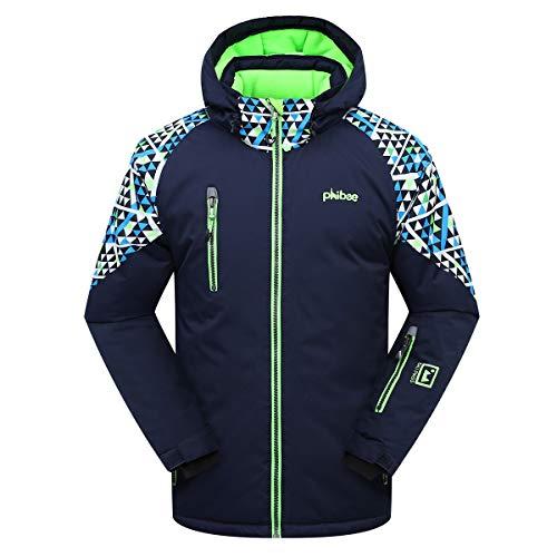 PHIBEE Big Boys' Waterproof Breathable Outdoor Warm Snowboard Ski Jacket Deep Blue 12