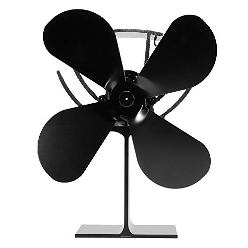 Ventilador para chimenea de 4 aspas, ventilador portátil para estufa con pantalla de temperatura para leña / quemador de leña / chimenea que aumenta un 80% más de aire caliente que el ventilador de 2