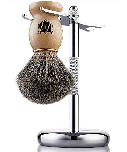 Miusco Natural Badger Hair Wet Shaving Brush and Shaving Stand Set, Chrome, Silver, Compatible with Safety Razor, Cartridge Razor and Disposable Razor