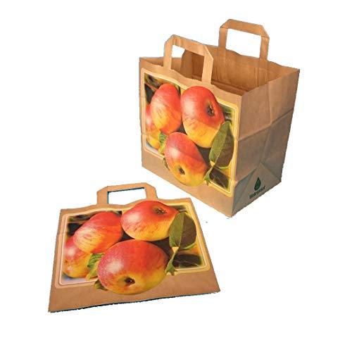 250 Papiertragetaschen Papiertüten Einkaufstüten Tragetaschen aus Papier, nassfest, mit Apfel Motiv, für Äpfel, Obst, braun, 26+17x25cm - Inkl. VerpG in D