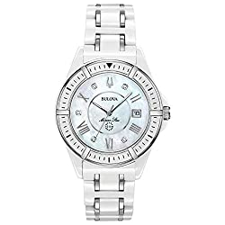 Marine Star Quartz Watch with Ceramic White Strap (Model: 98P172)