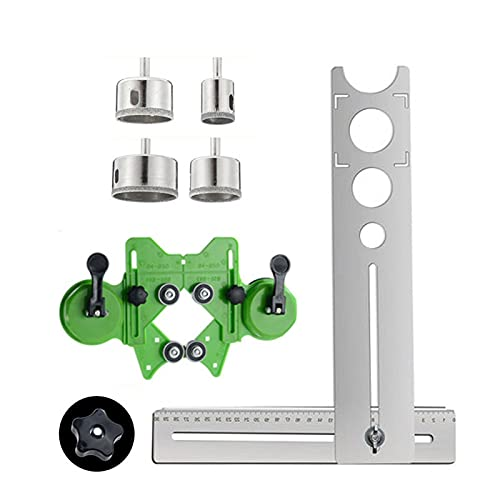 DELITLS Ceramic Tile Hole Locator, Portable Stainless Steel Universal Marble Punching Tool 360-Degree Free Adjustment Four Different Hole Sizes