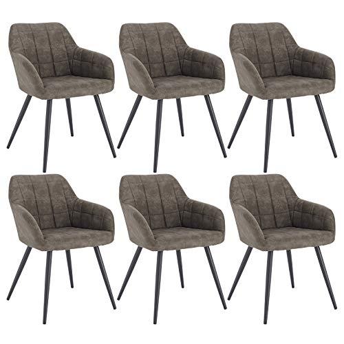 WOLTU 6 x Esszimmerstühle 6er Set Esszimmerstuhl Küchenstuhl Polsterstuhl Design Stuhl mit Armlehne, mit Sitzfläche aus Stoffbezug, Gestell aus Metall, Grau, BH224gr-6