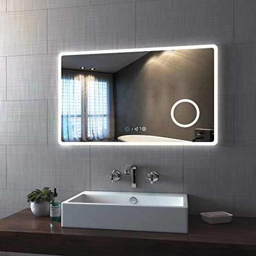 Bath-mann Espejo de baño LED 100 x 60 cm, espejo de baño con iluminación, 3 colores de luz 3000 – 6400 K, blanco frío, neutro, blanco cálido, espejo de pared con interruptor táctil con reloj