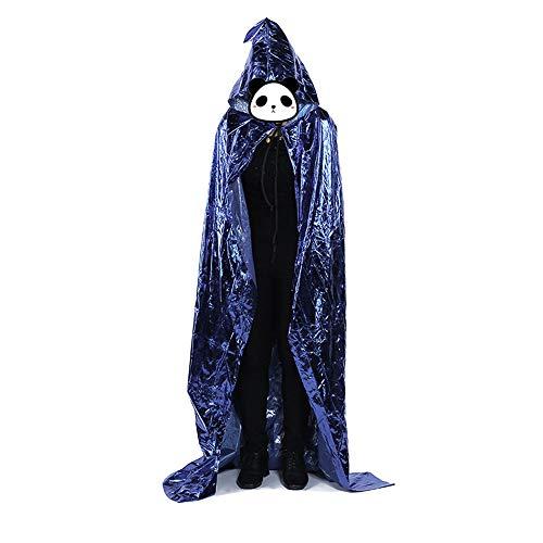 Big face cat Halloween mantel en muts - grote mantel van gepolijst leer 120 cm Blauw