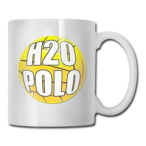 H2O Polo Taza de café divertida de cerámica ultra blanca Taza corta Taza marca Taza única de café Oz