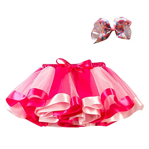 Lazzboy Ragazze tutù Tutu Tulle Rainbow Balletto Gonna Principessa per 3-10 Anni Dress-up Costume Festa con Fiocco Clip di Capelli Set(8-10 Anni,Fuchisa-1)