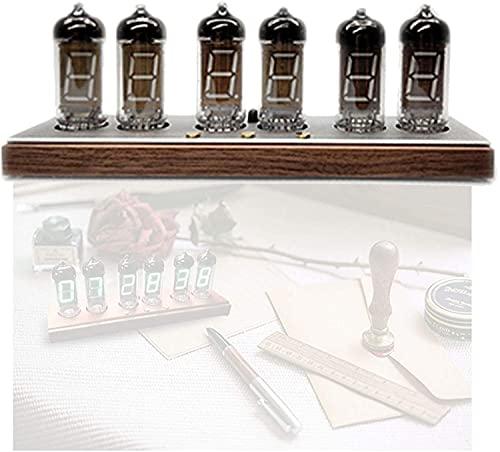 AACXRCR Nixie Tube Clock Smart Alarm Reloj, Reloj Retro Reloj de Voz Dibujos de Voz, Reloj de Resplandor para Niños Bluetooth Control, On Off Timer, Spades Base, Negro (Color : Silver)