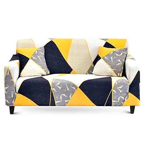 MAJAP Couch Cover Stretch - Elastische Sofa Überzug für 2 Sitzer mit 2 Kissenbezüge - Sofabezug auch für Ecksofa Sesselbezug Sofahusse Abdeckung L Form Überwurfdecke (145-185 cm)