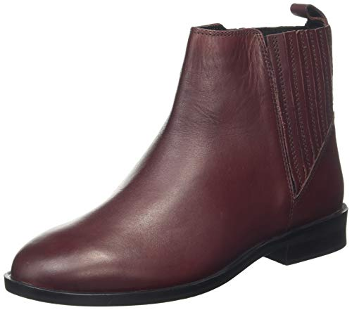 Dorothy Perkins Wide Fit Oslo Leather Chelsea Boots, Bottes Femme, Rouge (Oxblood 532), 36 EU