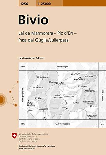 1256 Bivio: Lai da Marmorera - Piz d\'Err - Pass da Güglia/Julierpass (Landeskarte 1:25 000)