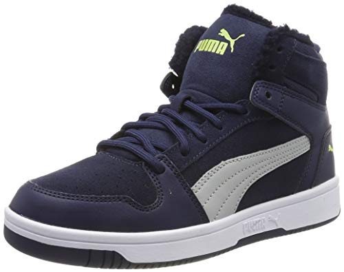 Puma Puma Rebound Layup Fur SD Jr Sneaker Unisex-Kinder, Blau (Peacoat-High Rise-Nrgy Yellow-Puma White), 36 EU