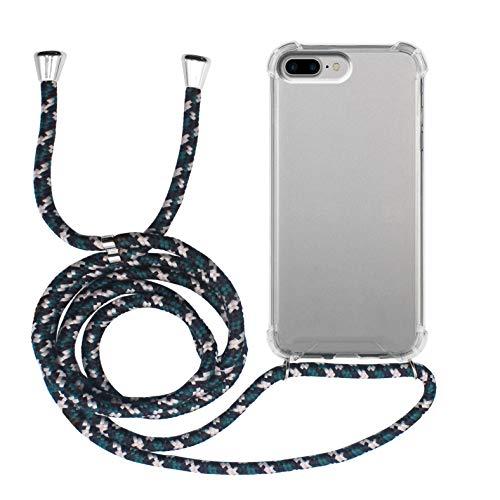 MyGadget Cover Trasparente con Cordino per Apple iPhone 7 Plus / 8 Plus - Custodia Bumper Cordoncino - Case Angoli Rinforzati e Tracolla - Nero Camou