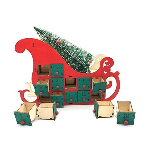 Bfrdollf Ornamento del árbol de Luz Casa de Madera Trineo de Adviento Calendario de Cuenta atrás Fiesta de Navidad Decoración 24 cajones con LED Calendario de Navidad (Color : 1)