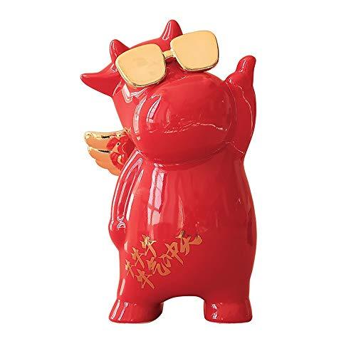 ZAKRLYB Cow Piggy Bank Lucky Mascot Ceramic Stable Anti-Drop Coin Children Adulto Adecuado para tocador Alojamiento Dormitorio Dormitorio Escritorio de la Cama Partition Decoración de la Pucha Regalo