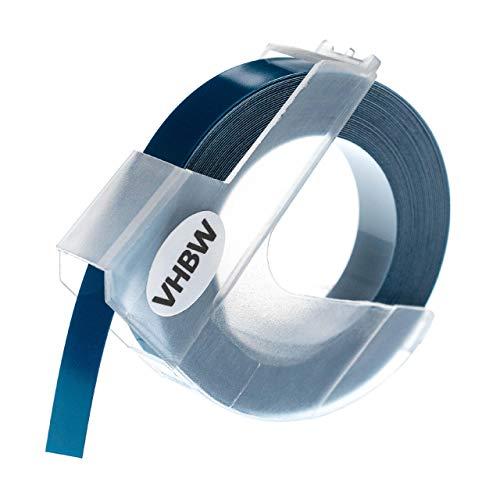 vhbw cassetta nastro, cartuccia per goffratura 3D compatibile con Dymo 1535, 1540, 1550, 1570, 1575, 1745, 1755, 1765 stampante 9mm bianco - blu scuro