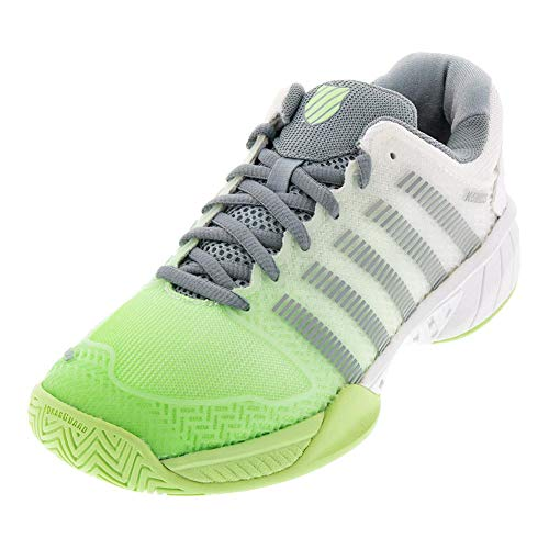 K-Swiss Women's Hypercourt Express Tennis Shoe (White/Paradise Green/Abyss, 5)