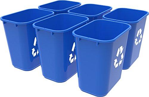 Storex Medium Recycling Basket 15 x 105 x 15 Inches Blue Case of 6 STX00714U06C