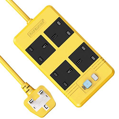 Tira de potencia de protección contra sobretensiones de plomo de extensión GFCI con protección contra fugas RCD 5M Cable de trabajo pesado, 13A / 3250W Enchufe eléctrico para taller / garaje / cine en