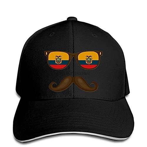 Gorra de béisbol Hombres Divertidos Novedad Mujeres Bandera ecuatoriana Gafas de Sol Bigotes Sombrero de Ecuador Gorra con Visera