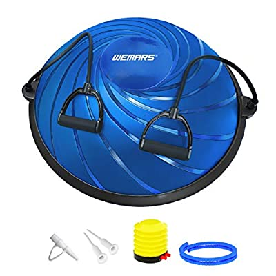 WEMARS Balance Ball Balance Trainer, Half Exercise Ball with Resistance Bands & Foot Pump, Home Gym Balance Board for Yoga Fitness Ab Strength & Stability Workout (Deep Blue)