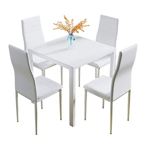 Glass Table and Chairs Set 4, 75cm Square Table with 4 Faux Leather High Back Chairs Modern Dining Room Sets for Home Kitchen Office, White