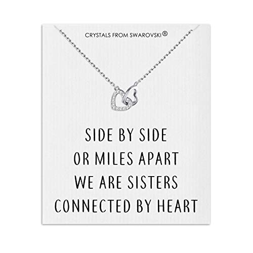 Philip Jones Sister Heart Link Necklace on Quote Card Created with Austrian...
