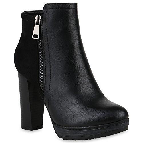 Damen Stiefeletten Plateau-Boots Zipper Holzoptikabsatz Schuhe 146553 Schwarz Zipper Black 39 Flandell