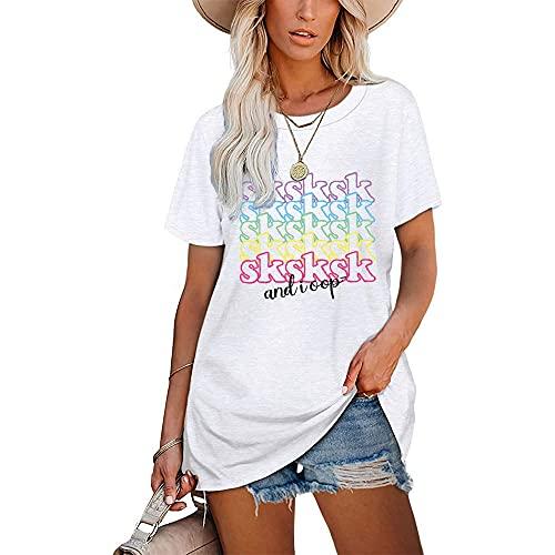 Mayntop Camiseta para mujer de verano con estampado de palabras, para el día de beber, suelta, manga corta, blusa con cuello redondo, M-blanco., 40