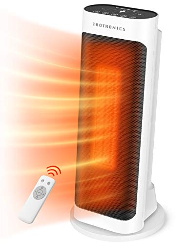 Taotronics Space 1500W Electric small portable patio heater with remote control, 65° oscillation, ECO mode, tip switch and LED display for overheat protection, large, White