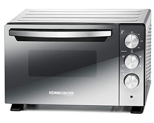 ROMMELSBACHER Back & Grill Ofen BGS 1400 - energiesparend & effizient, 22 Liter Volumen, antihaftbeschichteter Backraum, 6 Heizarten, Drehspieß, 60 Min. Zeitschaltuhr, Doppelverglasung, silber, 1380 W