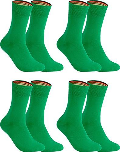 gigando – Socken Herren Baumwolle Uni Farben 4er oder 8er Pack in Premiumqualität – bunt farbige Strümpfe für Anzug, Business, Freizeit – ohne Naht - in grün Größe 43-46