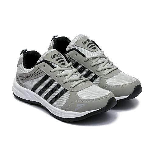 ASIAN Men's Grey Black Mesh Shoes (UK-10)